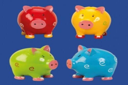 Spieldosen Sparschwein mit Kringeln 4 Ausführungen Stückpreis