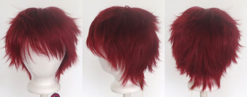 11/'/' Short Messy Spiky Crimson Red Synthetic Cosplay Wig NEW