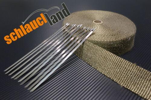 10 Kabelbinder *** Heat Wrap Krümmer 30m Titan Hitzeschutzband 50mm 1400°C
