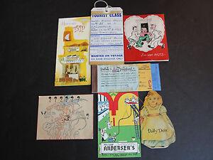 VINTAGE-1900s-middle-LOT-OF-7-PAPER-ITEMS-Ephemera-Booklets-Cards-ETC