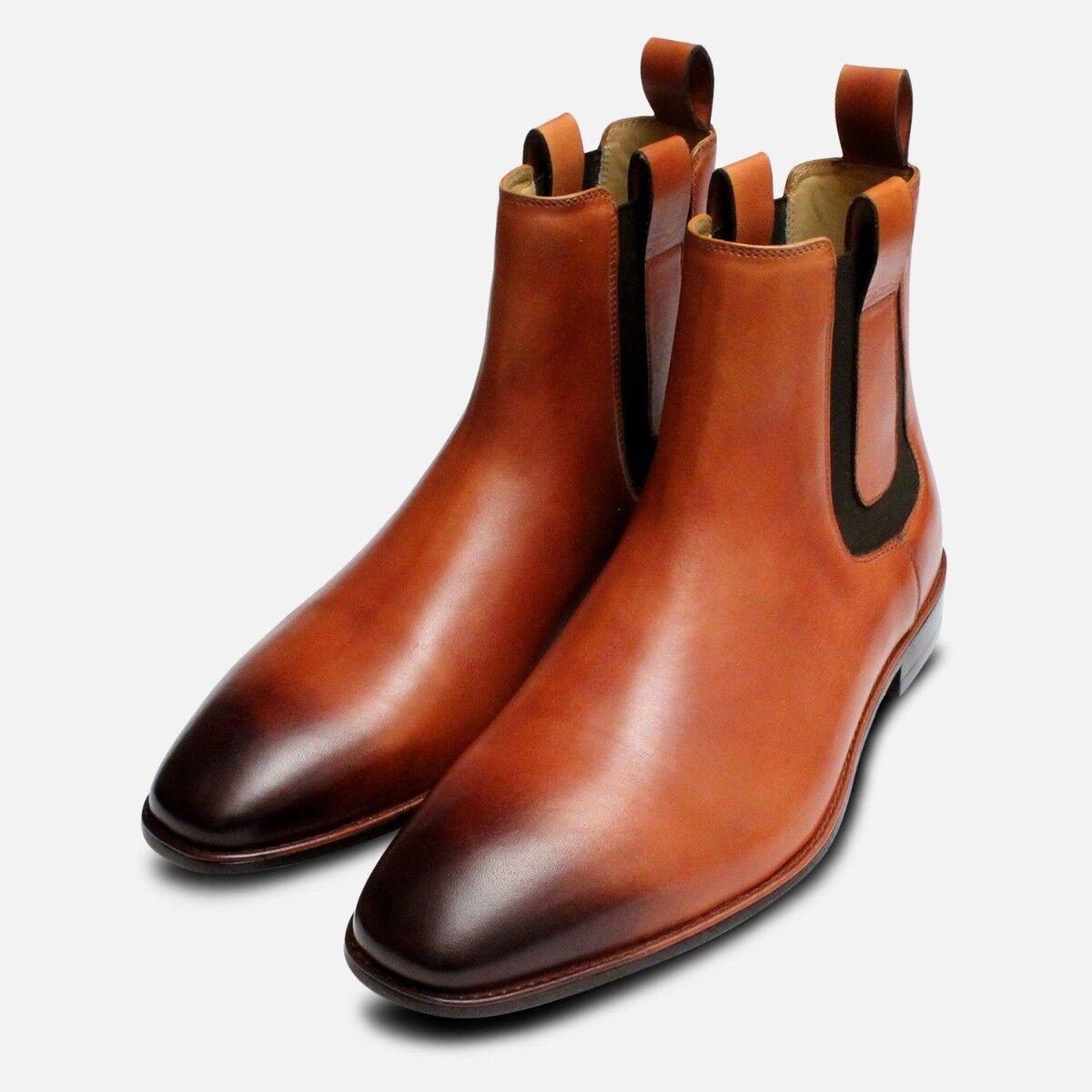 Tan Leather Mens braun Chelsea Stiefel
