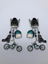 Extremely Rare Lunch at the Ritz Clip Earrings ~Motorcycles Evil Knievel Theme~