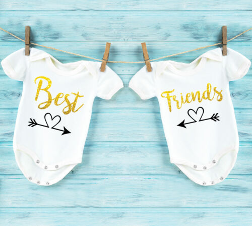 bodysuits vests for twins with gold glitter text Best friends white baby grows