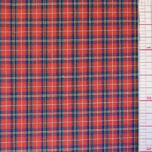 MINI RED COTTON PLAID BY THE YARD