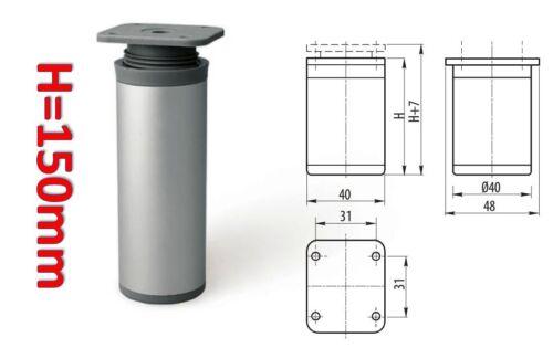 150 mm JAMBES en Aluminium Rond pouf mobilier cabinet côté H