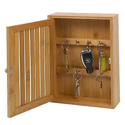 Bamboo Wall Mounted Key Box Brackets Cupboard Hooks Holder Storage Cabinet New Ebay
