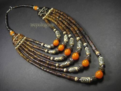 N4193 Tribal Amber Resin Bone Beads Strand BOHO Gypsy NECKLACE Fashion TIBETAN