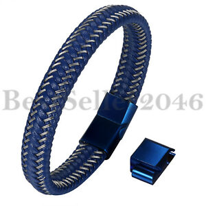 Men-Blue-Braided-Leather-Stainless-Steel-Magnetic-Clasp-Size-Adjustable-Bracelet