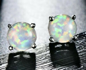 Opal-Weiss-Ohrringe-Ohrstecker-925er-Sterling-Silber-Silver-Earrings-Studs