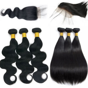3-bundles-with-Closure-Remy-Brazilian-Virgin-Human-Hair-Extensions-Weave-Weft-US