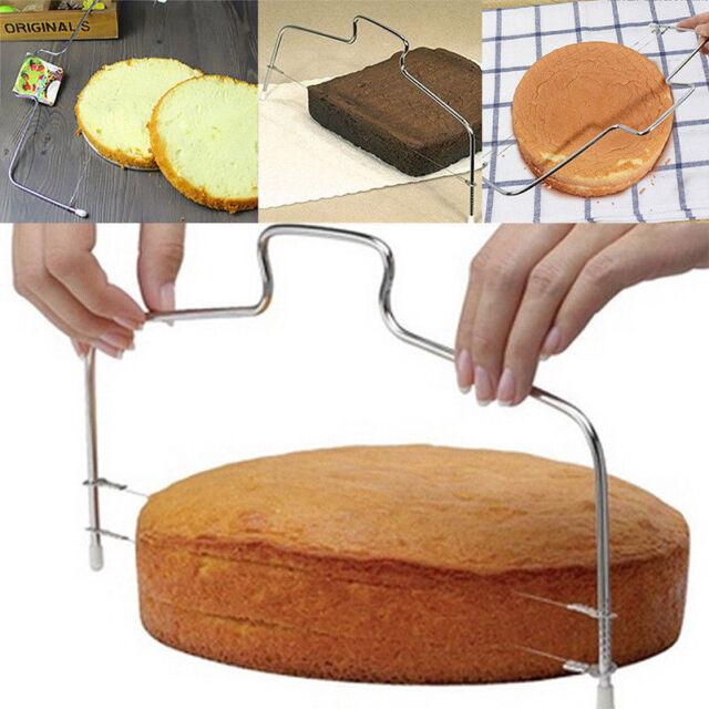 US Double Adjustable Wire Stainless Steel Cake  Baking Leveler Cutter JA