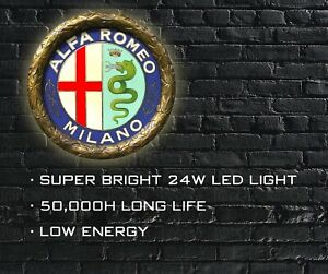 ALFA ROMEO BADGE LED Light for GARAGE, CLASSIC CAR 1925-1946, Office, MANCAVE