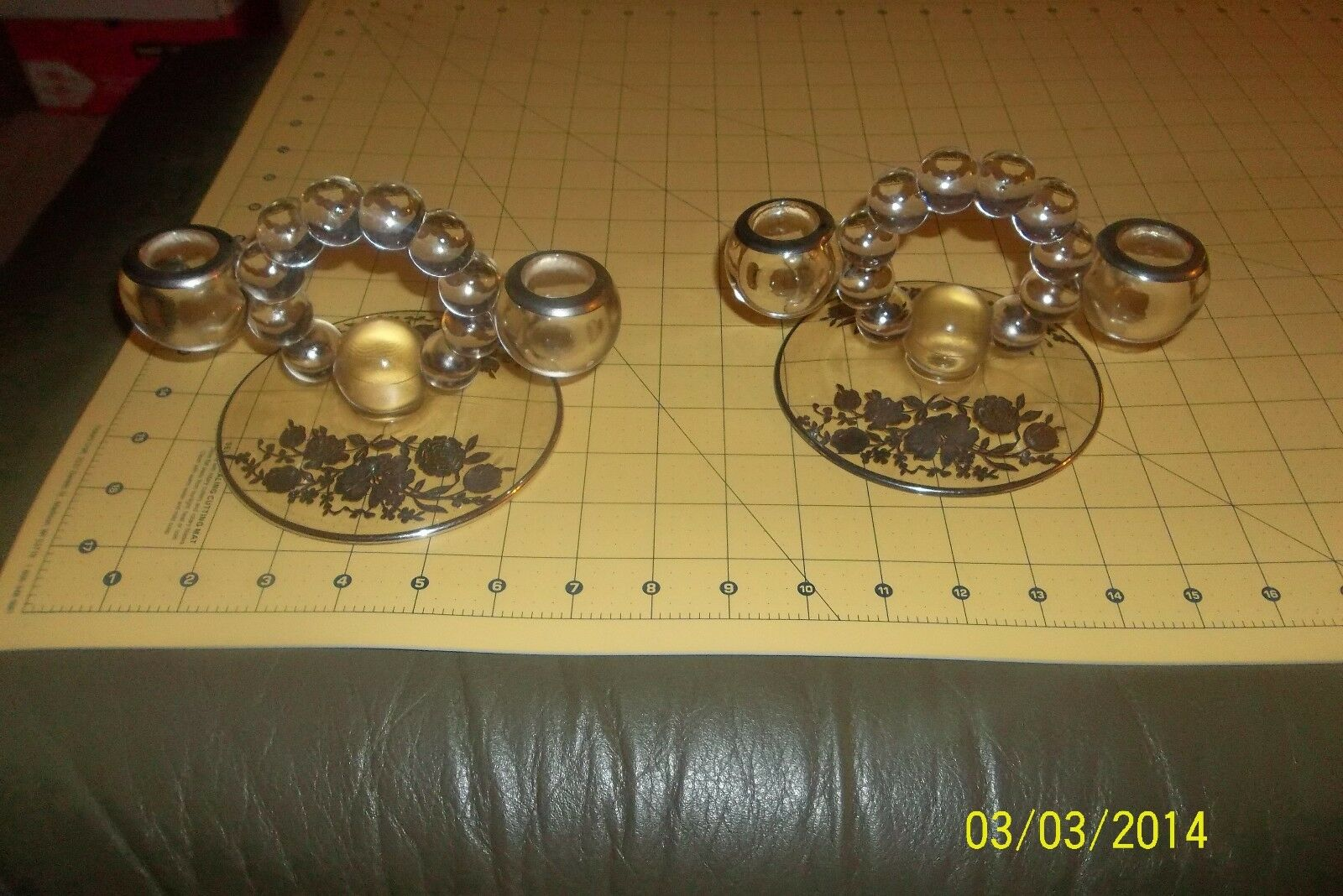 2 Antique 1940's Glass Candle Holders Pair Vintage Heavy Base Candelabra 2 arm