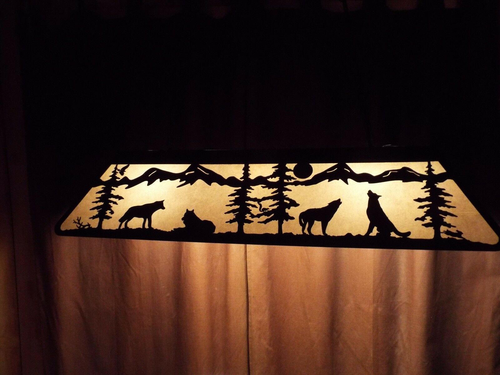 X LRG Laser cut Steel Tribute to Wolf Pool Table Light Lamp hunt cabin Satin BLK