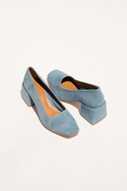 LoQ Villa petrol blue suede pump 2 inch heel sz 37 6.5 NIB