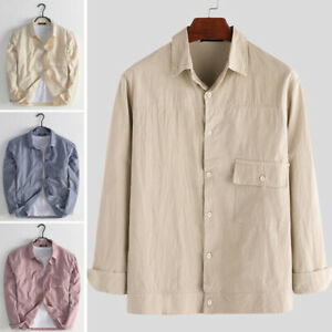 Men-039-s-Long-Sleeve-Cotton-Linen-Work-Tops-Tee-Business-Shirts-Casual-Loose-Blouse