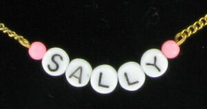 Sally - Name Necklace Gold Tone Pink Glass - Circa 1950-60