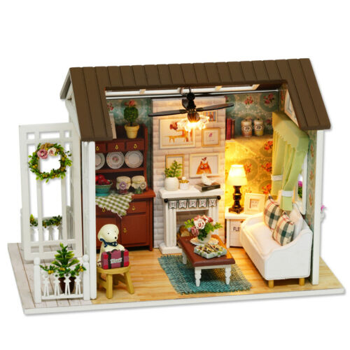 DIY 3D Furniture Toy Doll Miniature Wooden House Studio Kit with LED Light Retro