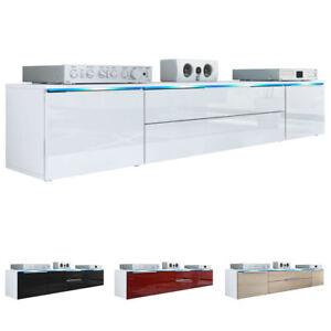 tv lowboard board schrank tisch m bel triest in wei hochglanz naturt ne ebay. Black Bedroom Furniture Sets. Home Design Ideas