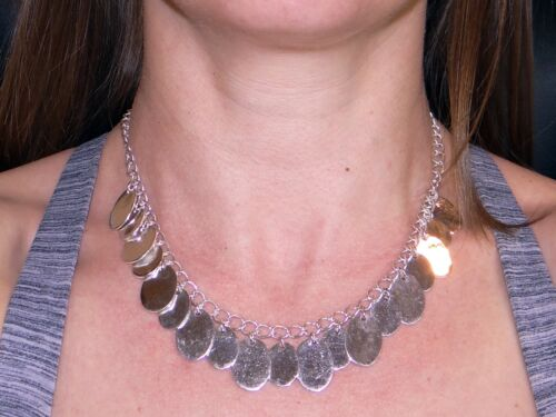 """Handmade Silver Oval Drop Charm Link Chain Adjustable Necklace 16"""" 17.5"""""""