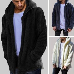 Mens-Winter-Teddy-Bear-Fleece-Fur-Fluffy-Coat-Jackets-Jumper-Outwear-Oversized