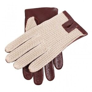 Dents Lancaster Crochet Back Leather Driving Gloves ENGLISH TAN