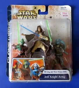 2003-Hasbro-STAR-WARS-JEDI-KNIGHT-ARMY-ACTION-FIGURE-3-Pack-NEW