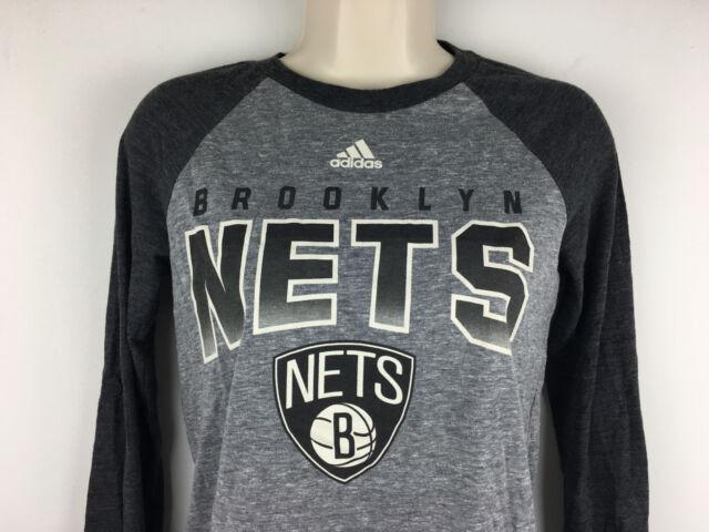Basketball Long Nba Gray Raglan T Sleeve Shirt Nets Adidas Brooklyn 6qWRUU