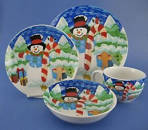 Image is loading Winter-Christmas-4-Piece-Place-Setting-Dinnerware-Snowman-  sc 1 st  eBay & Winter Christmas 4 Piece Place Setting Dinnerware Snowman Plate ...
