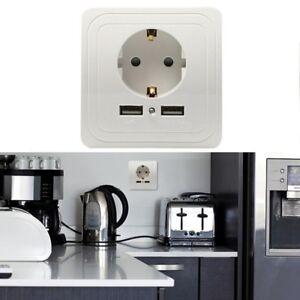 Steckdose-Zwischenstecker-Ladegeraet-mit-2x-USB-Anschluss-Bis-Max-2100mA-Gut-Neue