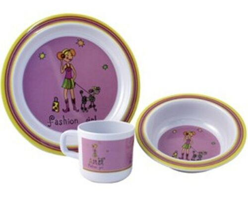 CAMPING CARAVAN PICNIC MELAMINE DINNER SET FAHION GIRLS KIDS CHILD BREAKFAST