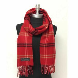 New 100/% CASHMERE SCARF MADE IN SCOTLAND Plaid Red Black yellow SOFT Wool WRAP