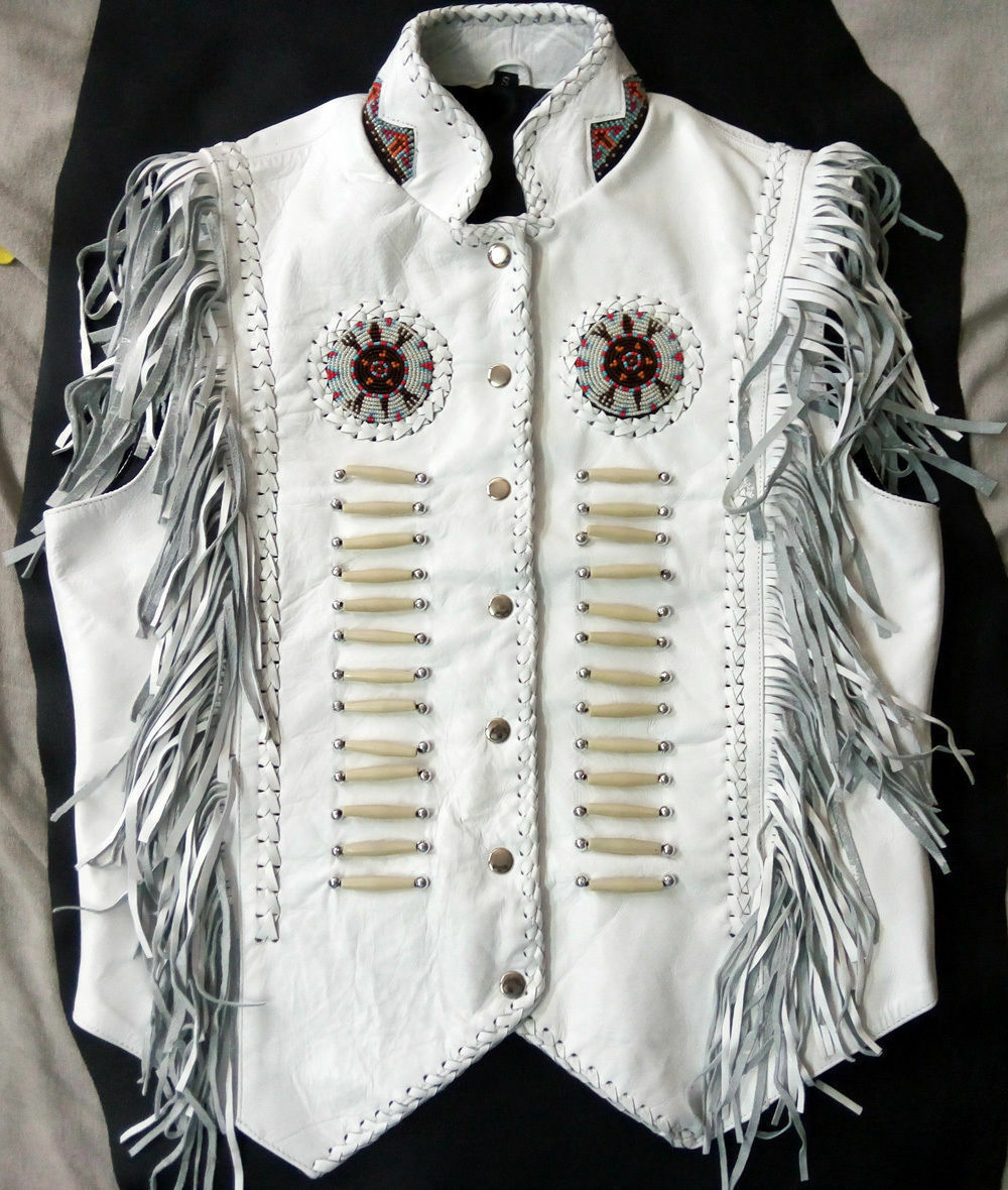 Women's Western Cow Leather Vest with Fringes beads and bones