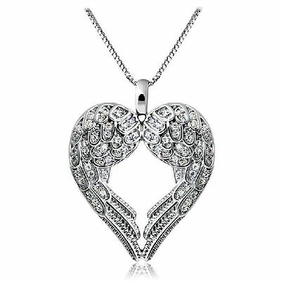Nice Women 925 Sterling Silver Angel Wing LOVE Heart Pendant Necklace Gift