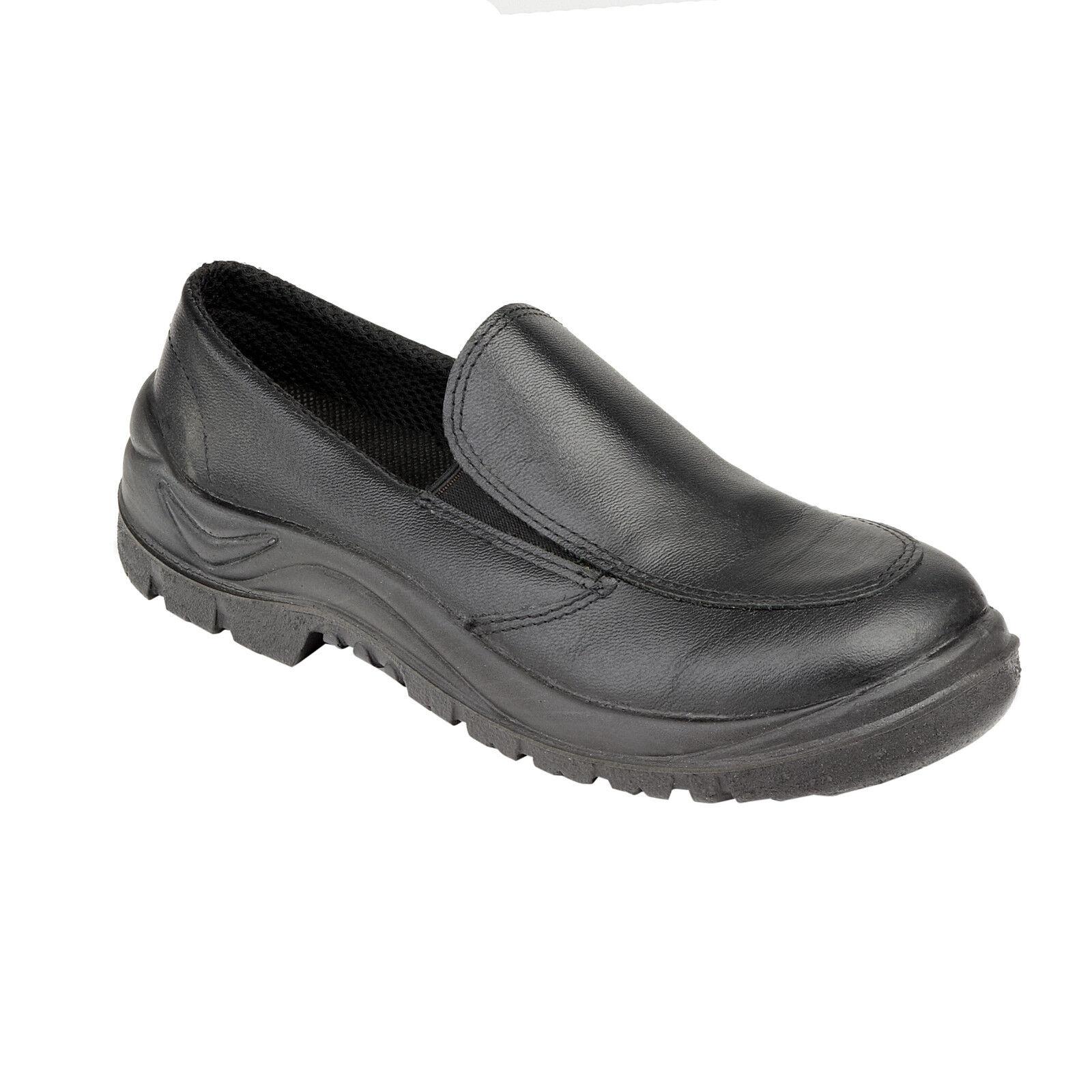 Tuffking 4506 S1 pelle nera punta in acciaio PAC onorevoli uniforme Mocassini Scarpe di sicurezza
