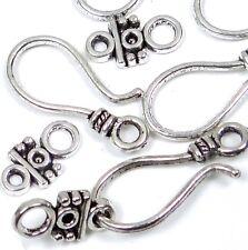 10 sets Antique Silver Pewter Hook Eye Clasps 20 pcs