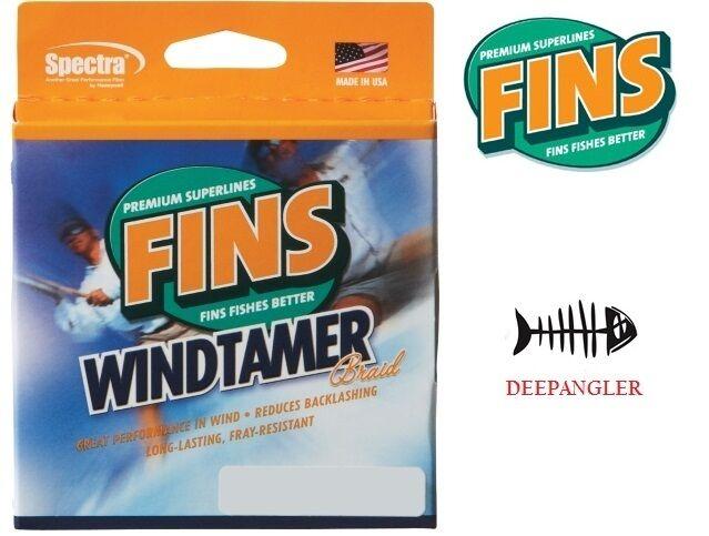Fins Windtamer Braid Fish Line 30 LB 1500 Yards, gituttio pesca Line, USA fatto