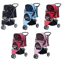 Three Wheel Pet Stroller Cart Dog Foldable Carrier Travel Jogger Colors Choose
