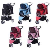 Three Wheel Pet Stroller Cart Dog Foldable Carrier Travel Jogger Colors Choose