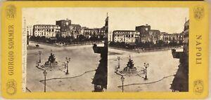 Italia Palermo Giardino Garibaldi c1865 Foto Sommer Stereo Vintage Albumina