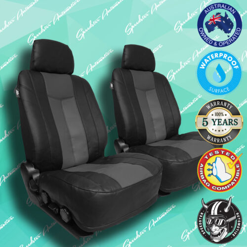 FORD FALCON GREY//BLACK LEATHER CAR FRONT SEAT COVERS THICK VINYL ALL OVER