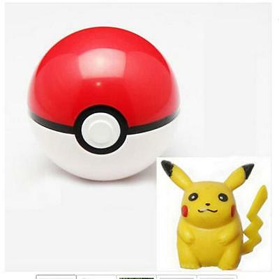 Pokemon Pokeball Pop-up 7cm Plastic BALL Toy Action Figure+ Free Pikachu H