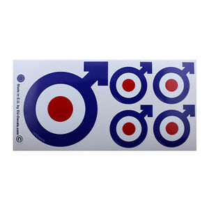 X5 Male Symbol target Mod Blue Laminated Decals Stickers for Vespa GTS GTV GTL