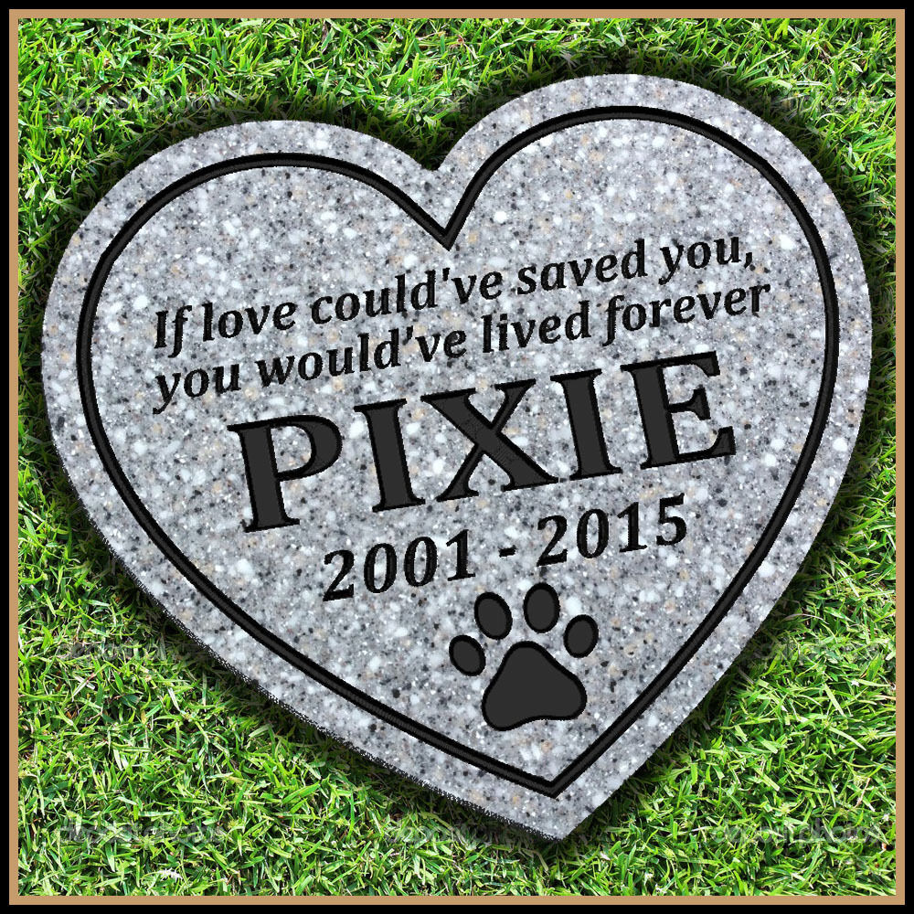 Pet Memorial Grave Marker 11  x 12  Heart Shaped Headstone Dog Cat Gravestone