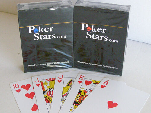 2 x Poker Stars Karten Pokerkarten 100/% Plastik Spielkarten Standard Index