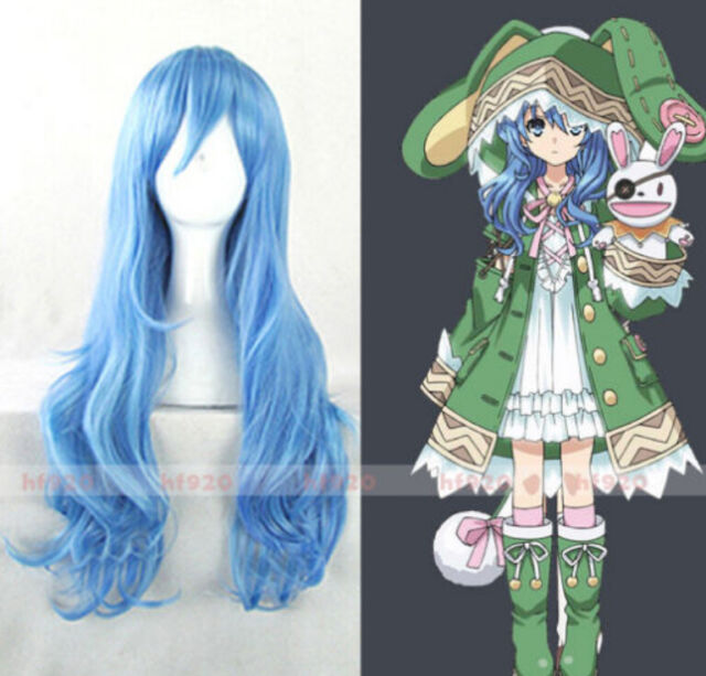 NEW 2018 Anime DATE A LIVE Yoshino 70cm Long Blue Cosplay Party Full Wig