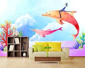 3D-Springen-Delphin-2-Fototapeten-Wandbild-Fototapete-Bild-Tapete-Familie-Kinder