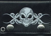 4 Skull Tri-fold Leather Wallet With Chain Biker Wallet Usa Shipper