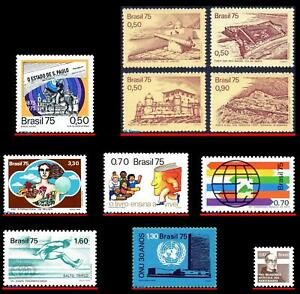 BRAZIL 1975 - LOT WITH 11 STAMPS OF THE YEAR - SCOTT VALUE $7.65, ALL MNH
