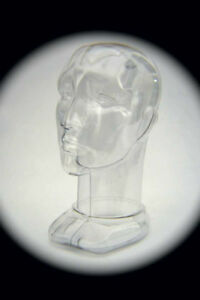 Unisex Head Form Mannequin Display. Rigid Clear Plastic. Modern Design.